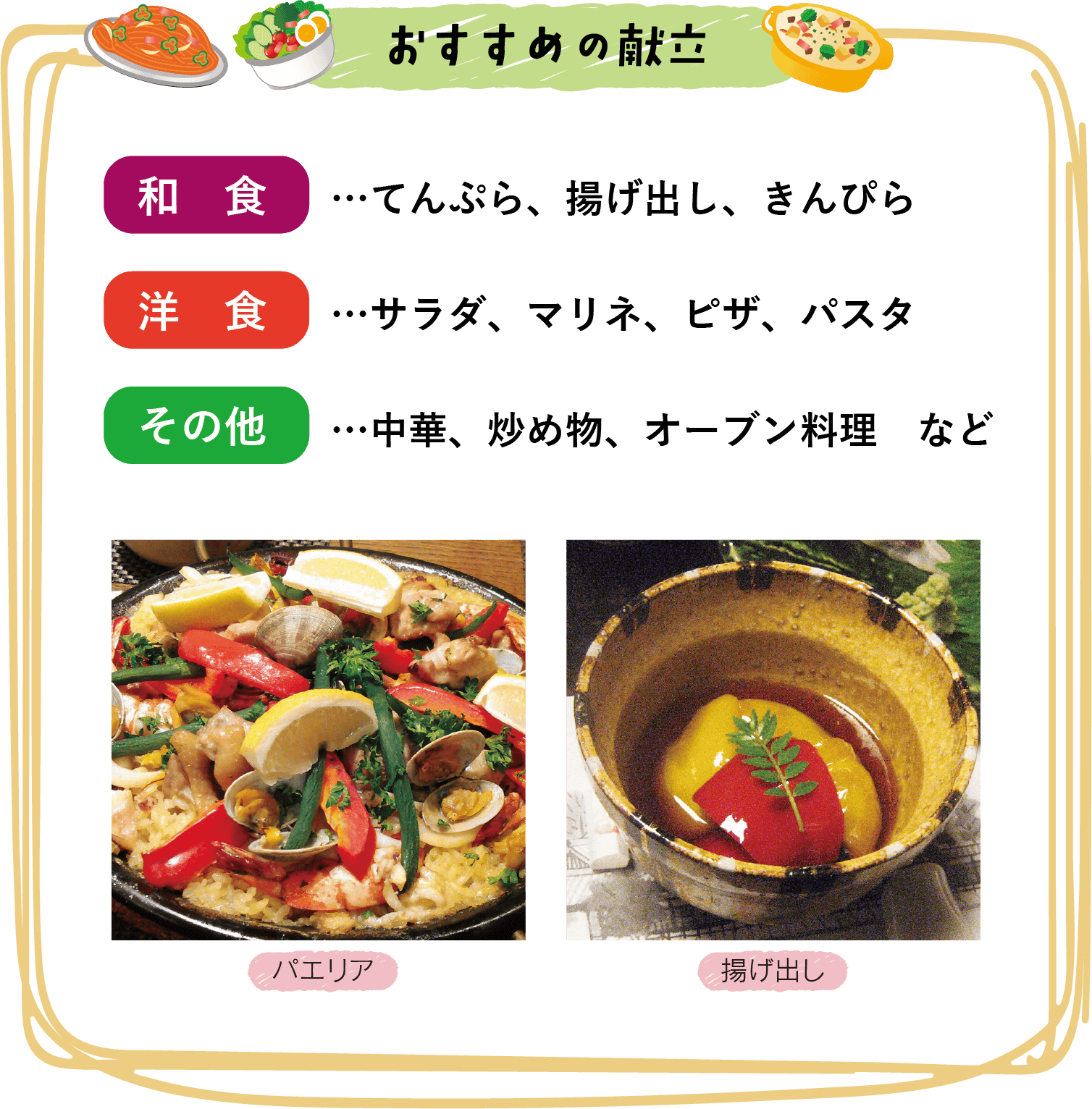 おすすめの献立 和食…天ぷら、揚げ出し、きんぴら 洋食…サラダ、マリネ、ピザ、パスタ その他…中華、炒め物、オーブン料理 など